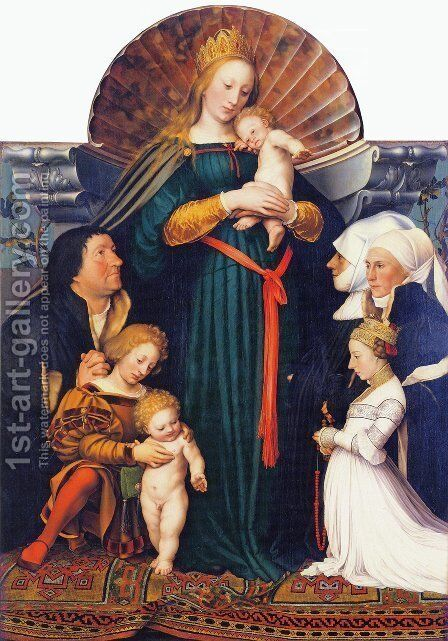 Madonna of the Burgermeister Meyer by Hans, the Younger Holbein - Reproduction Oil Painting