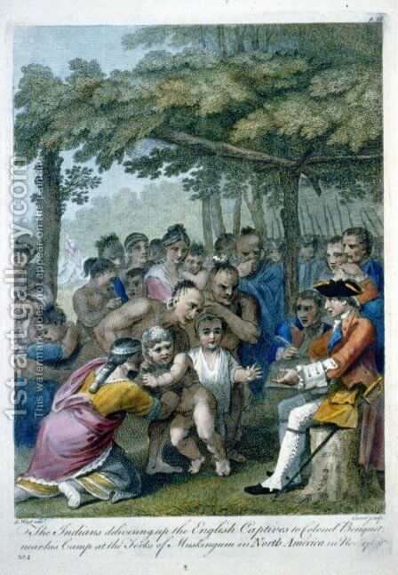 The Indians Delivering up the English Captives to Colonel Bouquet near his camp at the folks of Muskingum, North America in November 1764 by Benjamin West - Reproduction Oil Painting
