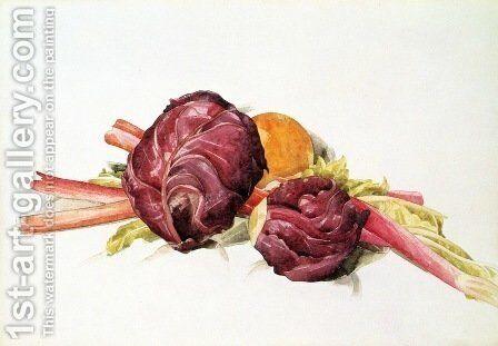 Red Cabbages, Rhubarb and Orange by Charles Demuth - Reproduction Oil Painting