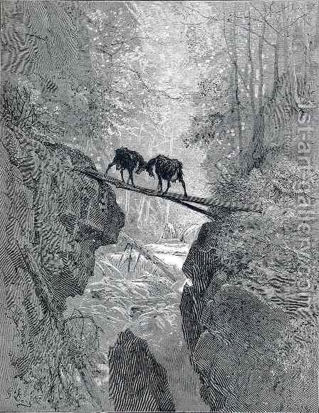 The Two Goats by Gustave Dore - Reproduction Oil Painting