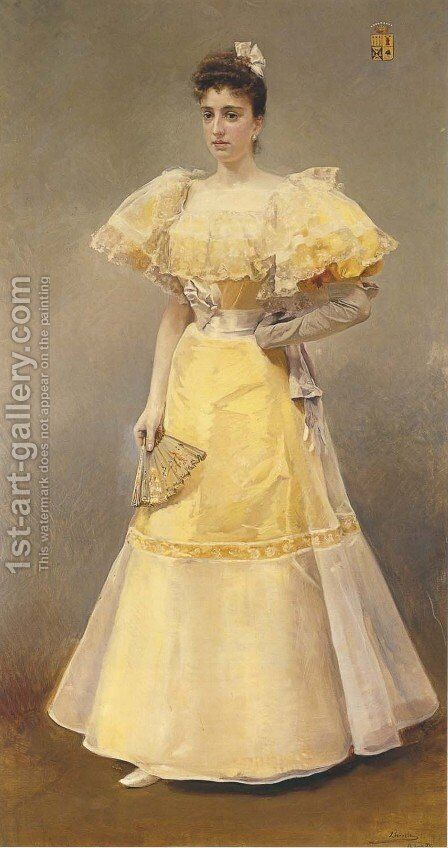 Portrait of Countess of Santiago by Joaquin Sorolla y Bastida - Reproduction Oil Painting