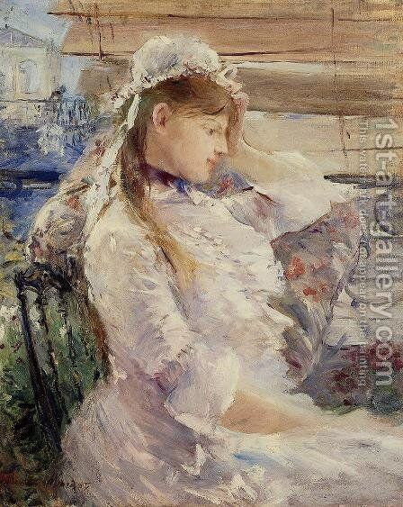 Profile of a seated young woman by Berthe Morisot - Reproduction Oil Painting