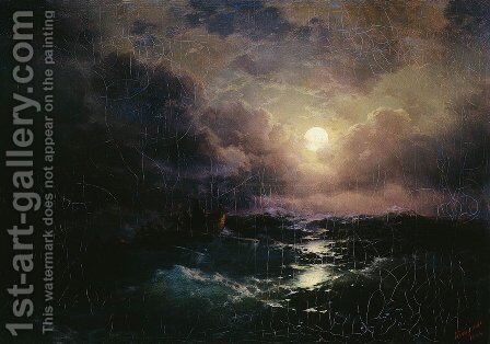 After the storm. Moonrise by Ivan Konstantinovich Aivazovsky - Reproduction Oil Painting