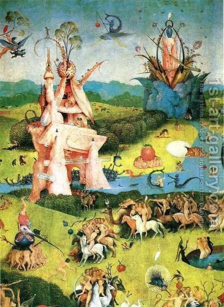 The Garden of Earthly Delights (detail) 2 by Hieronymous Bosch - Reproduction Oil Painting