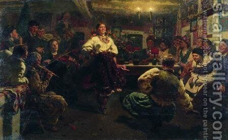 Evening party by Ilya Efimovich Efimovich Repin - Reproduction Oil Painting