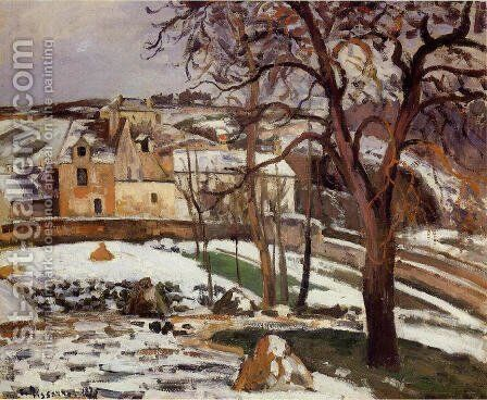 The Effect of Snow at l'Hermitage, Pontoise 2 by Camille Pissarro - Reproduction Oil Painting