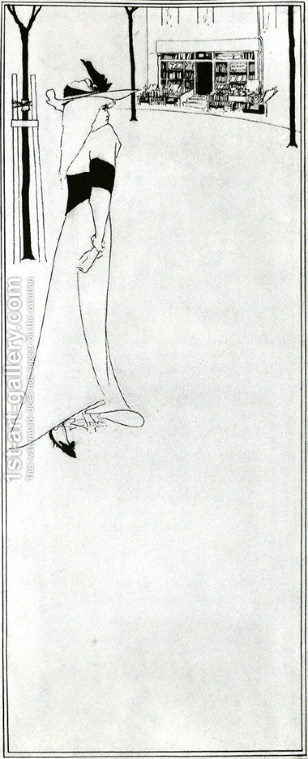 Poster of  Girl and a Bookshop by Aubrey Vincent Beardsley - Reproduction Oil Painting