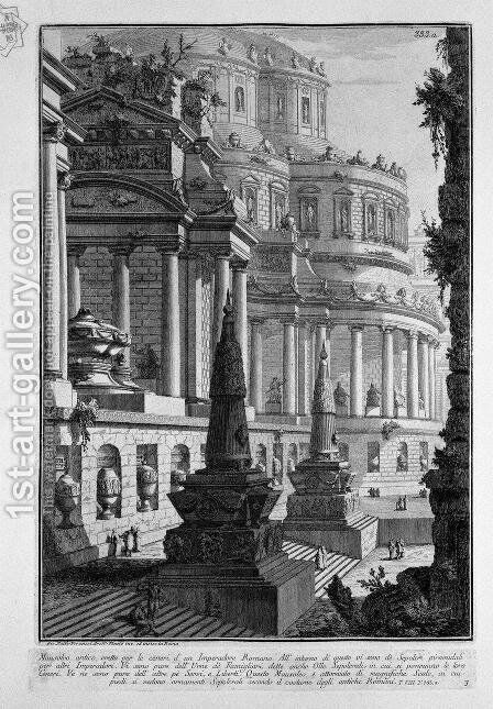 Ancient mausoleum erected to the ashes of a Roman Emperor by Giovanni Battista Piranesi - Reproduction Oil Painting