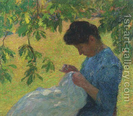 Young Woman Sewing in the Garden by Henri Martin - Reproduction Oil Painting