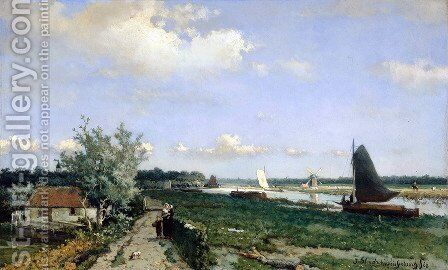 Canal at Rijswijk 2 by Jan Hendrik Weissenbruch - Reproduction Oil Painting