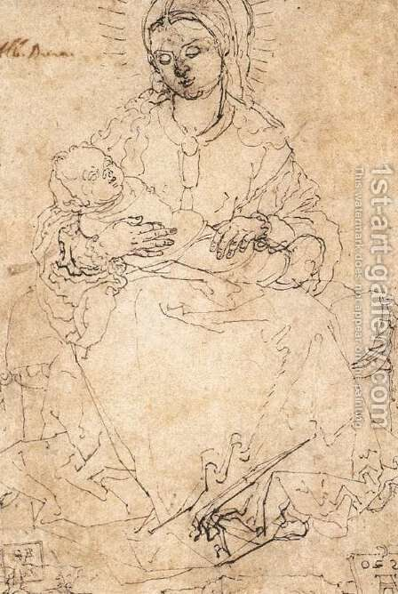 Madonna and Child on a Stone Bench by Albrecht Durer - Reproduction Oil Painting