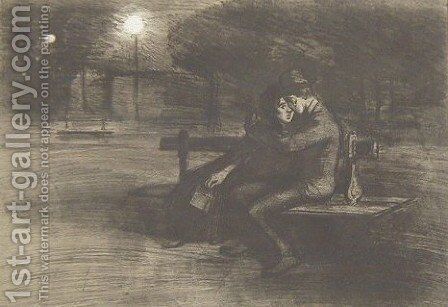 Amoureux Sur Un Banc by Theophile Alexandre Steinlen - Reproduction Oil Painting