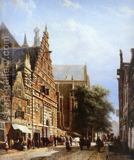 Vleeschhal and Grote Kerk in Haarlem by Cornelis Springer - Reproduction Oil Painting