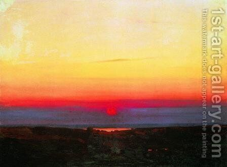 Sunset in the steppes by the sea by Arkhip Ivanovich Kuindzhi - Reproduction Oil Painting