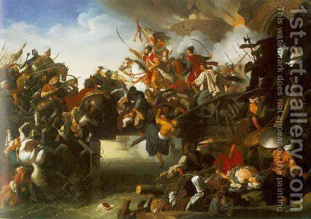 The Attack of Zrinyi  1825 by Johann Peter Krafft - Reproduction Oil Painting