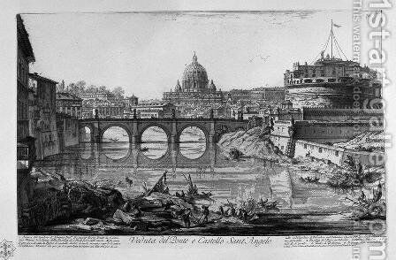 View of the port of Ripa Grande by Giovanni Battista Piranesi - Reproduction Oil Painting