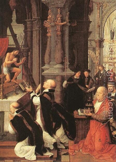 Mass of St Gregory by Adriaen Isenbrandt (Ysenbrandt) - Reproduction Oil Painting
