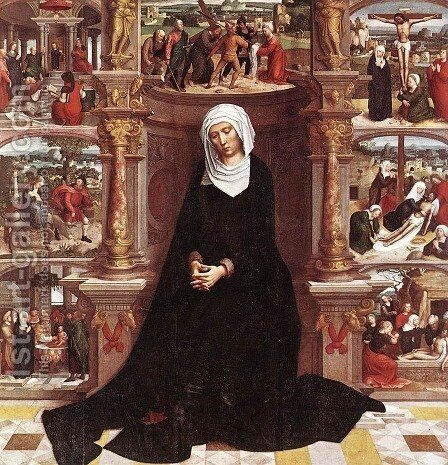 Our Lady Of The Seven Sorrows by Adriaen Isenbrandt (Ysenbrandt) - Reproduction Oil Painting