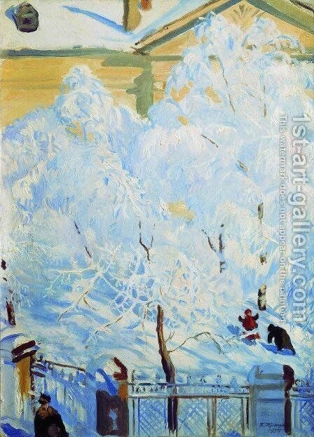 Hard rime by Boris Kustodiev - Reproduction Oil Painting