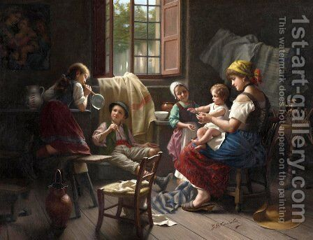 Blowing bubbles by Giovanni Battista Torriglia - Reproduction Oil Painting
