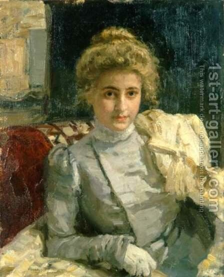The Blond (Portrait of Tevashova) by Ilya Efimovich Efimovich Repin - Reproduction Oil Painting