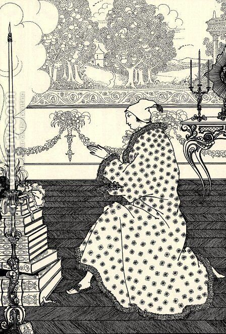 The Baron's Prayer by Aubrey Vincent Beardsley - Reproduction Oil Painting