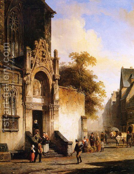 Coming out of church by Cornelis Springer - Reproduction Oil Painting