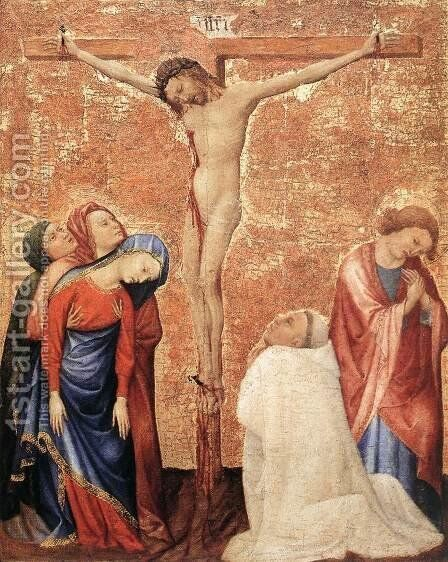 Christ On The Cross With A Carthusian Monk 1389-95 by Jean de Beaumetz - Reproduction Oil Painting