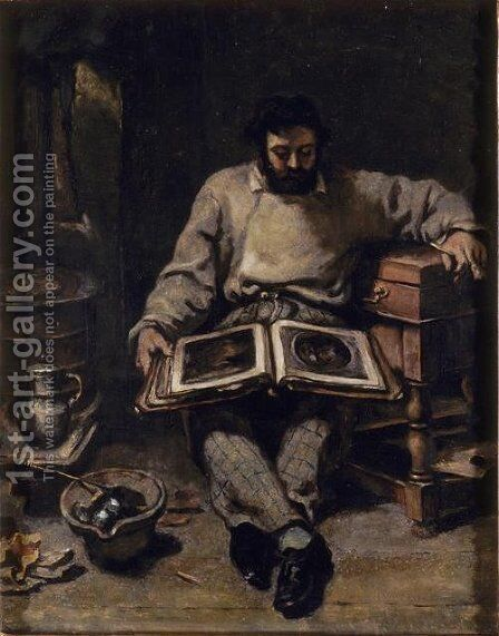 Marc Trapadoux is Examining the Book of Prints by Gustave Courbet - Reproduction Oil Painting