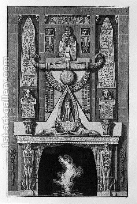 Egyptian-style fireplace, on the floor between two obelisks and a number of decorative elements, two sphinxes crouching, and among them a naked figure standing by Giovanni Battista Piranesi - Reproduction Oil Painting