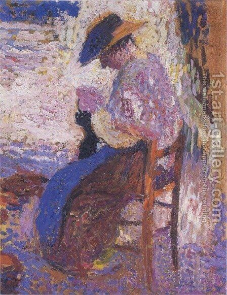 Woman sewing by Henri Martin - Reproduction Oil Painting