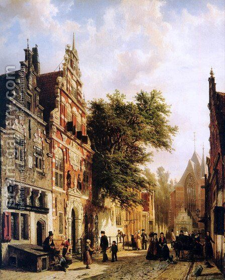 Weeshuis in Enkhuizen by Cornelis Springer - Reproduction Oil Painting