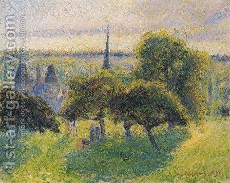 Farm and Steeple at Sunset by Camille Pissarro - Reproduction Oil Painting