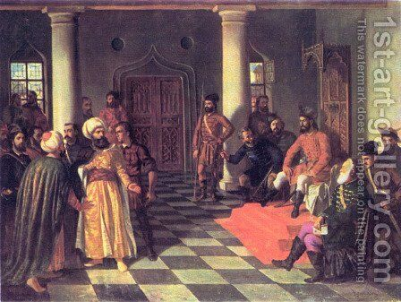 Vlad the Impaler and the Turkish Envoys by Theodor Aman - Reproduction Oil Painting