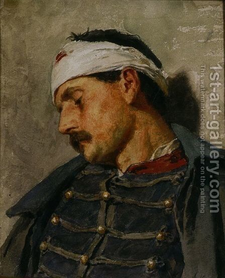Wounded Soldier by Albert Anker - Reproduction Oil Painting