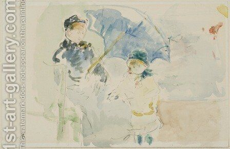 At the Beach in Nice by Berthe Morisot - Reproduction Oil Painting