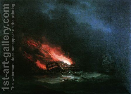 Burning ship (the episode of the Russian-Turkish War) by Ivan Konstantinovich Aivazovsky - Reproduction Oil Painting