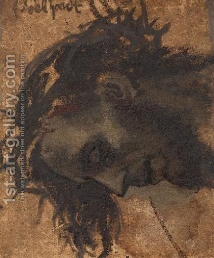 Study For The Head Of Christ In A Crucifixion by Eduard Karl Franz von Gebhardt - Reproduction Oil Painting