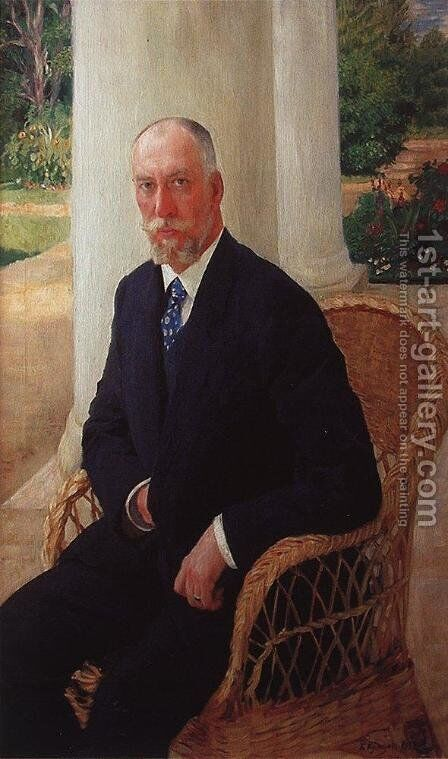Portrait of Baron N.K.fon Mecca by Boris Kustodiev - Reproduction Oil Painting