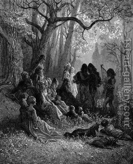 Troubadours Singing the Glories of the Crusades by Gustave Dore - Reproduction Oil Painting