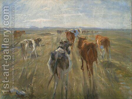 Long Shadows. Cattle on the Island of Saltholm by Theodor Esbern Philipsen - Reproduction Oil Painting