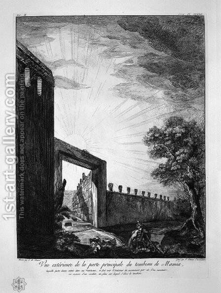 Profiles in large Ionic order forming the upper part of the tomb by Giovanni Battista Piranesi - Reproduction Oil Painting