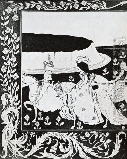 How Queen Guenever rode on Maying I by Aubrey Vincent Beardsley - Reproduction Oil Painting