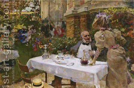 Cafe in Paris by Joaquin Sorolla y Bastida - Reproduction Oil Painting