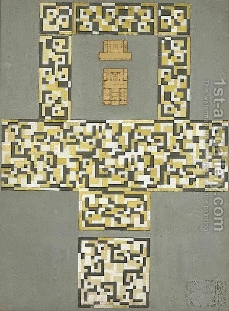 Design for a tile floor, and entrance hall by Theo van Doesburg - Reproduction Oil Painting