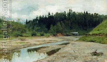 River in the forest by Isaak Ilyich Levitan - Reproduction Oil Painting