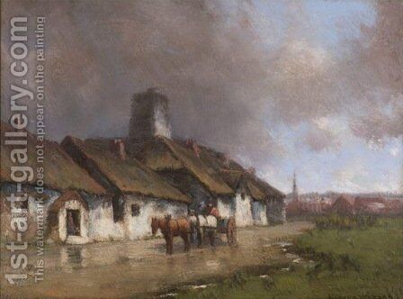 Horse and Cart With Cottage Under Stormy Sky by Homer Watson - Reproduction Oil Painting