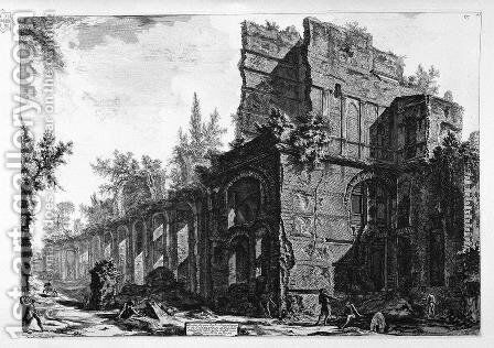 Ruins of one of the chambers' soldiers at one of the leading factories in Hadrian's Villa in Tivoli His by Giovanni Battista Piranesi - Reproduction Oil Painting