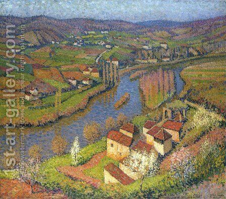 The Lot at St. Cirq-Lapopie by Henri Martin - Reproduction Oil Painting