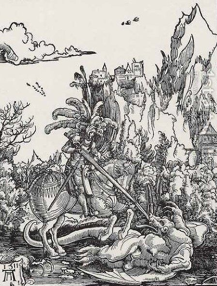 The St. George killing the dragon art by Albrecht Altdorfer - Reproduction Oil Painting